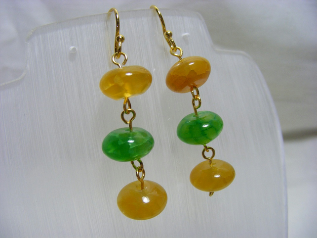 Yellow and Green Gemstone Earrings