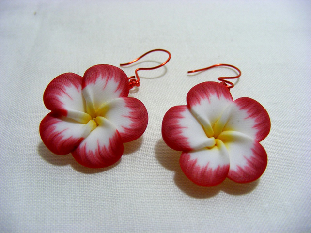 Red Pansy Earrings