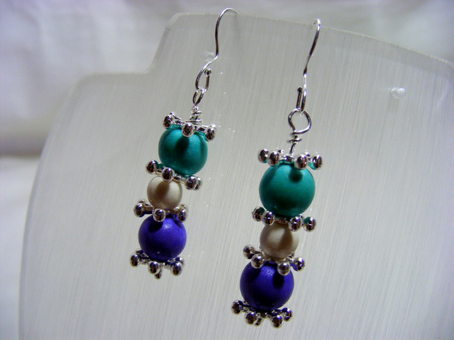 Turquoise, Purple and White Earrings