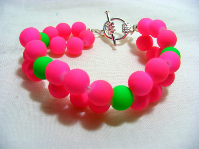 Fuchsia and Lime Neon Bracelet
