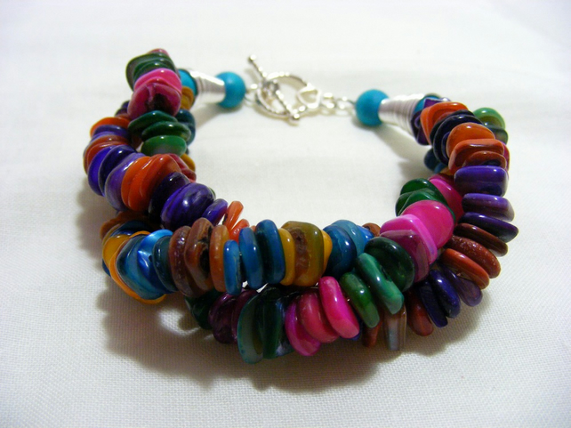 Multi-Coloured Shell Bracelet