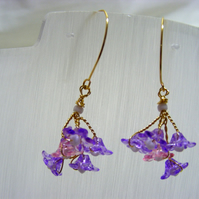 Pink and Purple Flower Earrings