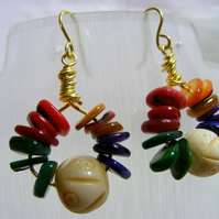 Multi-Coloured Shell Chip Earrings