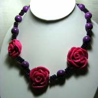 Chunky Pink Rose Necklace