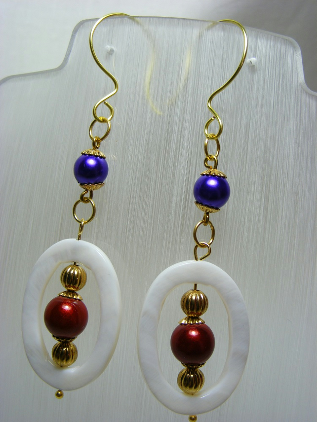 Shell Oval Dangling Earrings