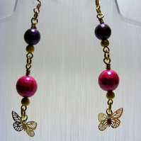Butterfly and Shell Pearl Earrings