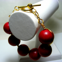 Wire Wrapped Red Wooden Bracelet