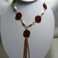 Red and White Shell Necklace