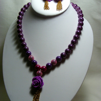 Purple Rose Jewellery Set