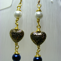Pearl and Heart Dangling Earrings