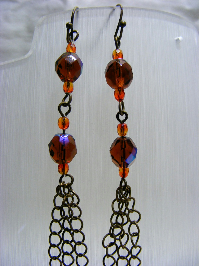 Orange and Antique Copper Dangle Earrings