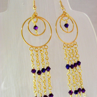 Purple Iris Crystal Earrings