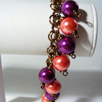 Purple and Orange Charm Bracelet