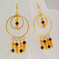 Swarovski Chocolate and Citrus Earrings