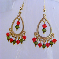 Red and Green Swarovski Crystal Drop Earrings