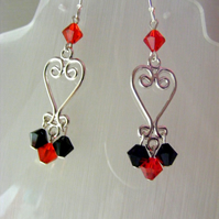 Swarovski Black and Red Crystal Earrings
