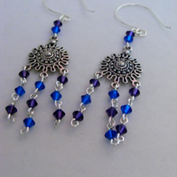 Swarovski Blue and Purple Dangling Earrings