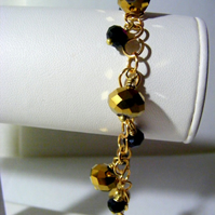 Black and Gold Charm Bracelet