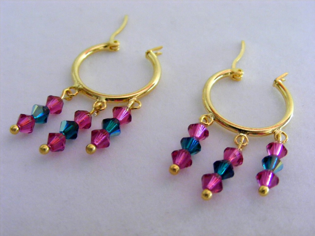 Swarovski Fuchsia and Emerald Hoop Earrings