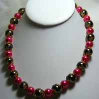 Pink and Brown Pearl Necklace