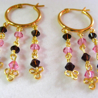 Swarovski Rose Pink and Mocca Crystal Earrings