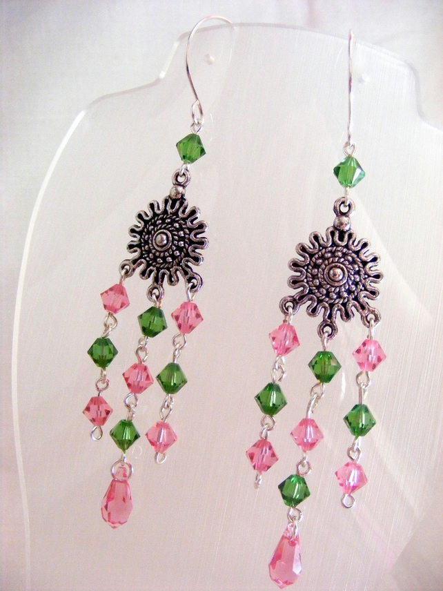 Swarovski Pink and Green Dangling Earrings