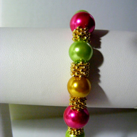 Gold, Lime and Cerise Bracelet