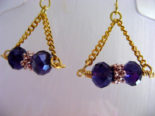 Purple Crystal Triangle Earrings