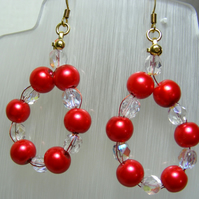Red Pearl Hoop Earrings