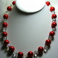 Chunky Red Pearl Necklace