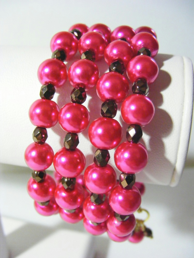 Hot Pink and Brown Memory Bangle