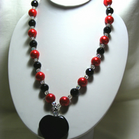 Chunky Red and Black Heart Necklace