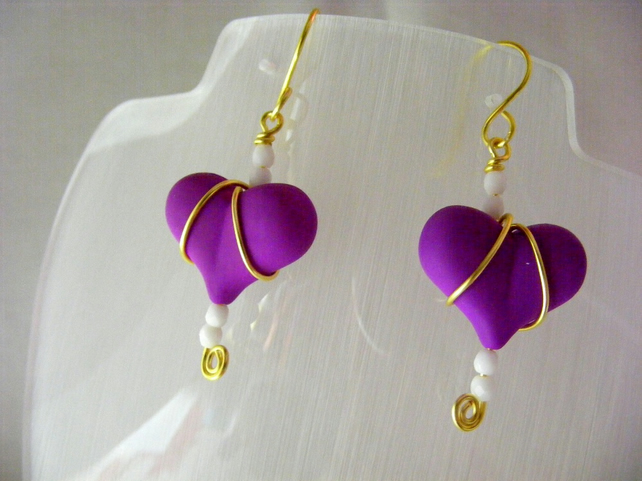 Purple Heart Wire Wrapped Earrings