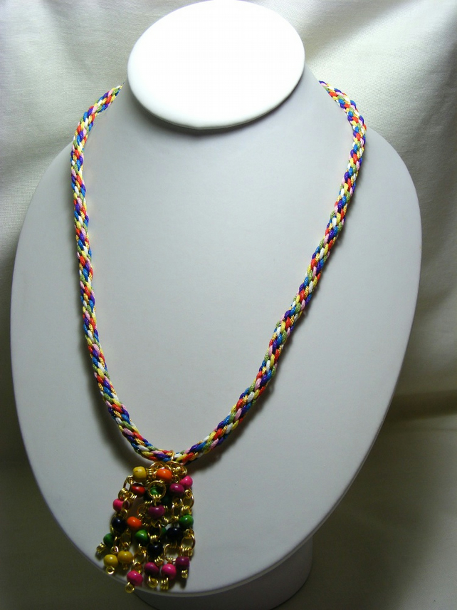 Multi-Coloured Kumihimo Necklace