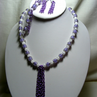 Lavender and White Gemstone Jewellery Set.