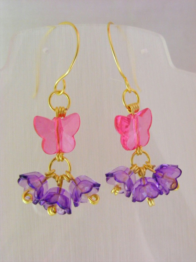 Tulip and Butterfly Earrings