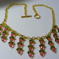Pink and Green Flower Jewellery Set