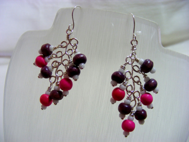 Purple and Pink Wooden Earrings