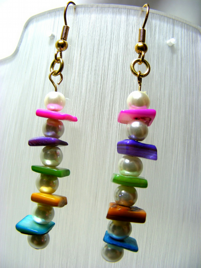 Pearl and Shell Chip Earrings