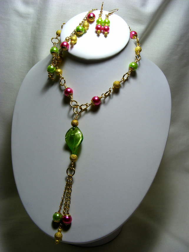 Pink, Lime Green and Gold Jewellery Set