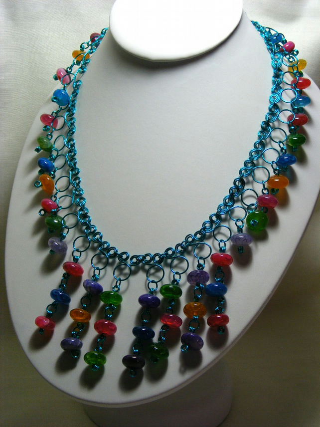 Gemstone Wire Work Necklace