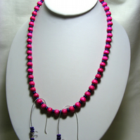 Dark Purple and Cerise Wooden Jewellery Set