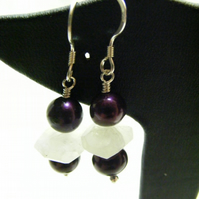 Purple Cultured Pearl and White Moonstone Earrings