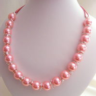 Chunky Pink Pearl  Necklace
