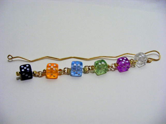 Multi Colour Dice Bookmark