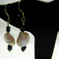 Pearl and Precious Sapphire Earrings