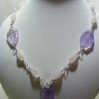 Lavender Amethyst and Rose Quartz Necklace