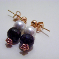 Garnet and Shell Pearl Earrings