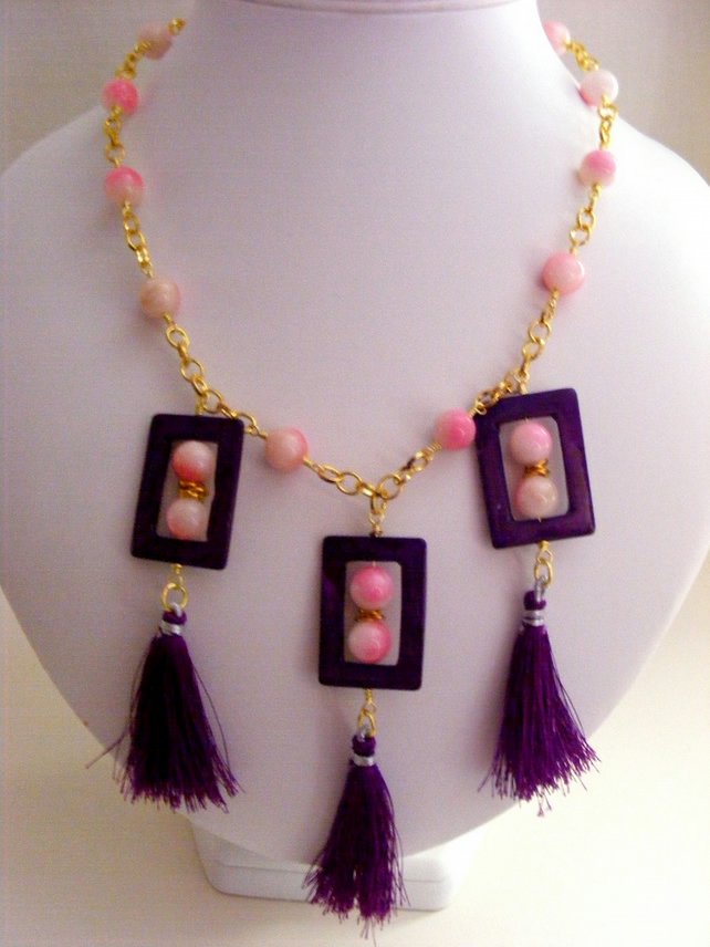 Shell, Gemstone and Tassel Necklace