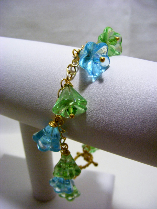 Green and Blue Flower Charm Bracelet